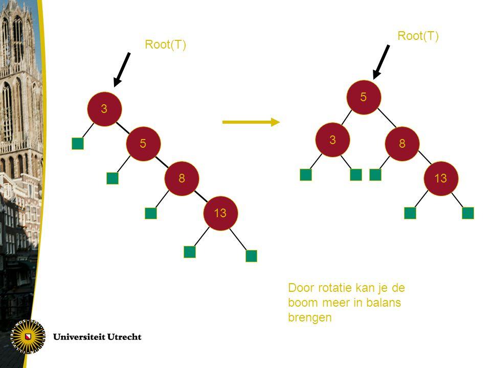 3 5 8 13 5 3 8 Root(T) Door rotatie kan je de boom meer in balans brengen