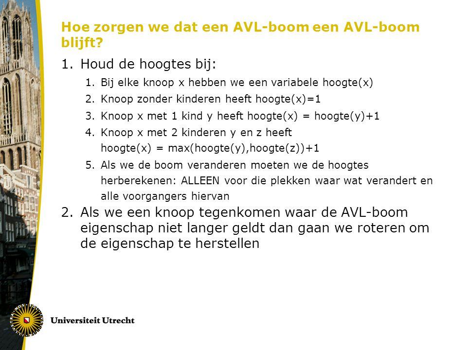 Hoe zorgen we dat een AVL-boom een AVL-boom blijft.