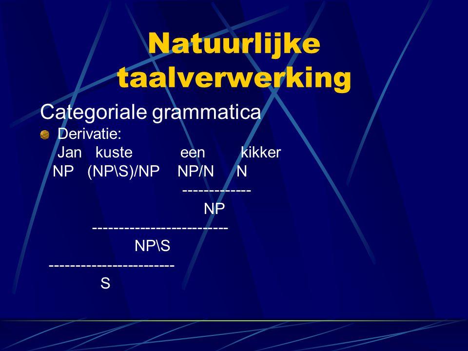 Natuurlijke taalverwerking Categoriale grammatica Derivatie: Jan kuste een kikker NP (NP\S)/NP NP/N N ------------- NP -------------------------- NP\S