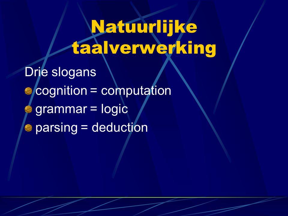 Natuurlijke taalverwerking Drie slogans cognition = computation grammar = logic parsing = deduction