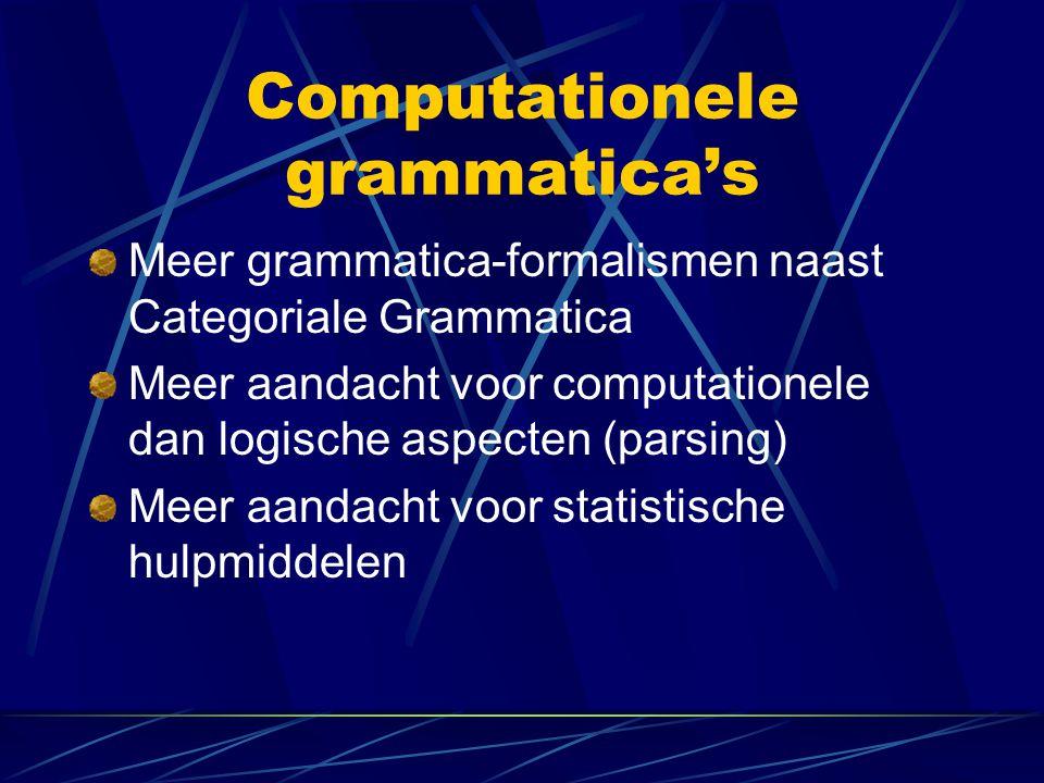 Computationele grammatica's Meer grammatica-formalismen naast Categoriale Grammatica Meer aandacht voor computationele dan logische aspecten (parsing)