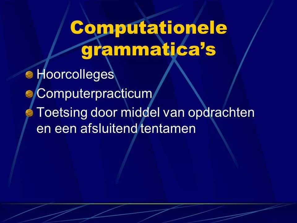 Hoorcolleges Computerpracticum Toetsing door middel van opdrachten en een afsluitend tentamen