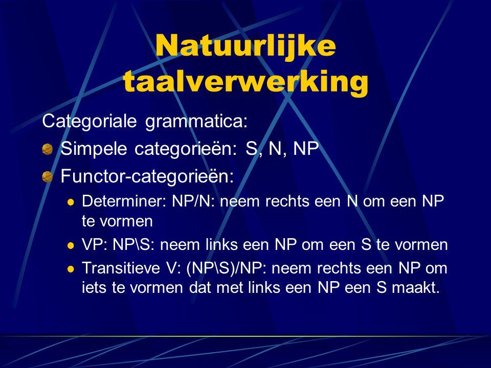 Natuurlijke taalverwerking Categoriale grammatica: Simpele categorieën: S, N, NP Functor-categorieën: Determiner: NP/N: neem rechts een N om een NP te