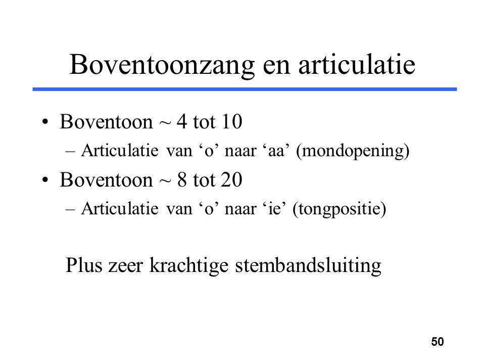 49 Boventoonzang Frequentie (Hz) Amplitude 0 1000 2000 3000 4000 5000 F2+F3