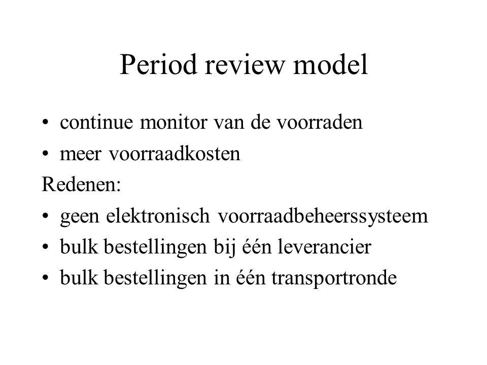 Period review model continue monitor van de voorraden meer voorraadkosten Redenen: geen elektronisch voorraadbeheerssysteem bulk bestellingen bij één