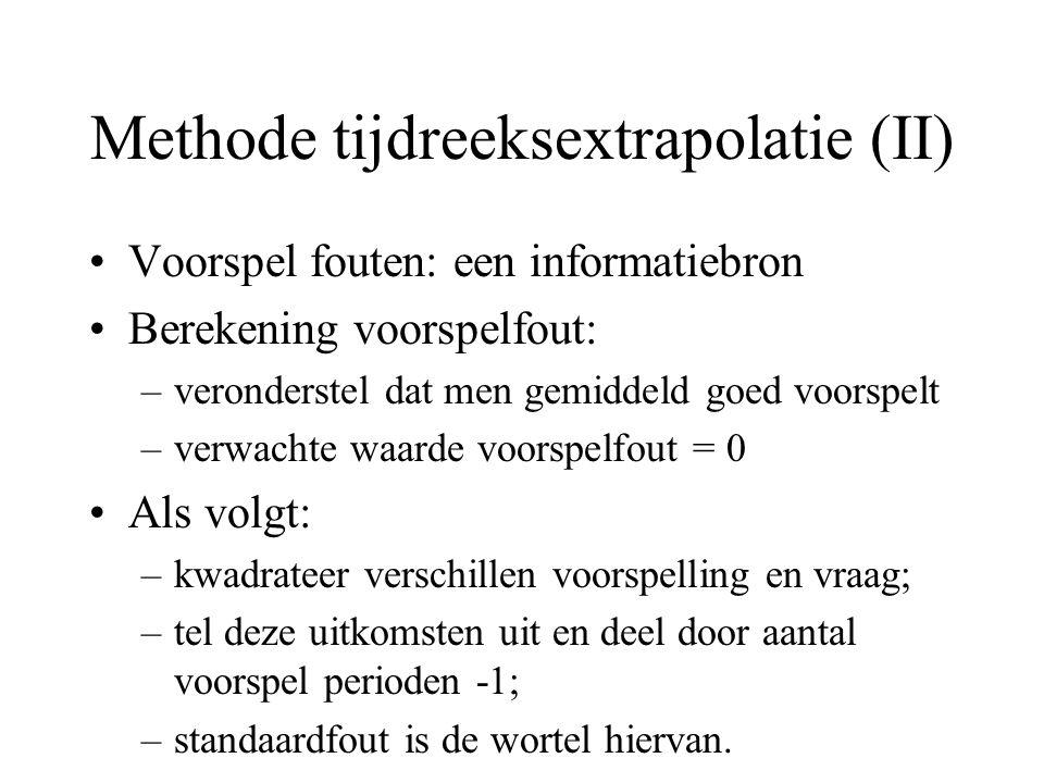 Methode tijdreeksextrapolatie (II) Voorspel fouten: een informatiebron Berekening voorspelfout: –veronderstel dat men gemiddeld goed voorspelt –verwac