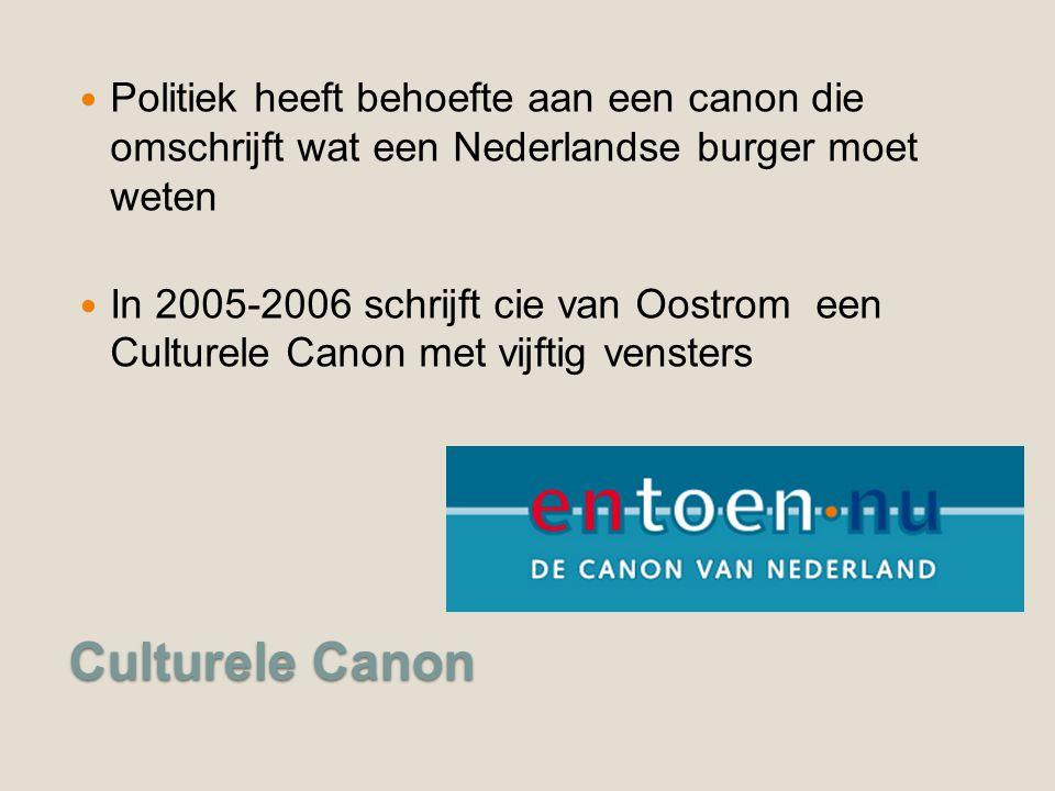 Culturele Canon Politiek heeft behoefte aan een canon die omschrijft wat een Nederlandse burger moet weten In 2005-2006 schrijft cie van Oostrom een Culturele Canon met vijftig vensters