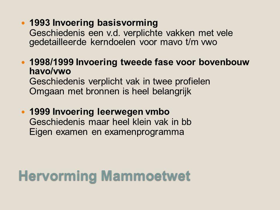 Hervorming Mammoetwet 1993 Invoering basisvorming Geschiedenis een v.d.