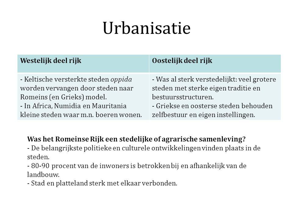 Urbanisatie Westelijk deel rijkOostelijk deel rijk - Keltische versterkte steden oppida worden vervangen door steden naar Romeins (en Grieks) model. -