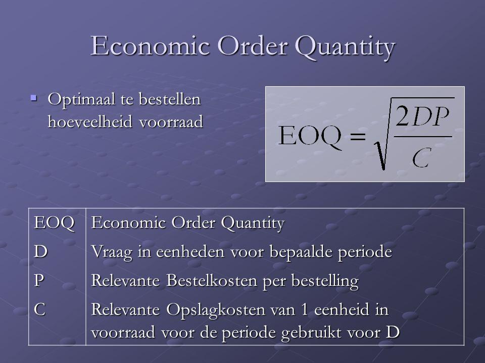 Economic Order Quantity  Optimaal te bestellen hoeveelheid voorraad EOQ Economic Order Quantity D Vraag in eenheden voor bepaalde periode P Relevante