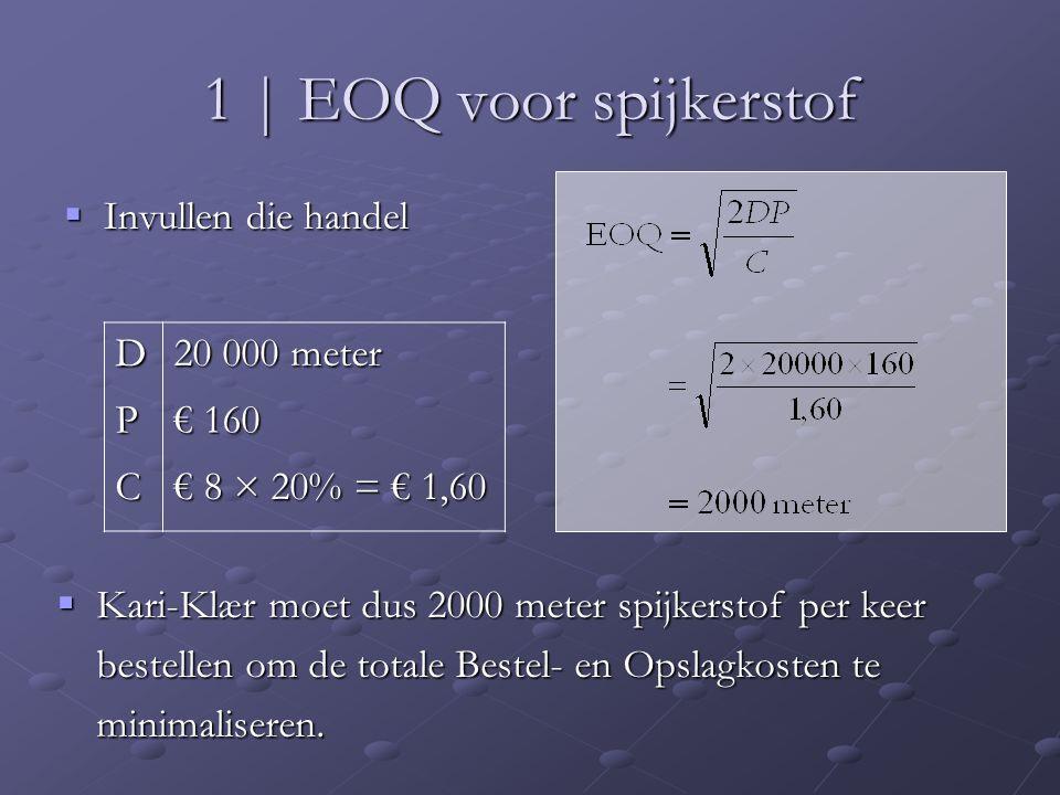 1 | EOQ voor spijkerstof  Invullen die handel D 20 000 meter P € 160 C € 8 × 20% = € 1,60  Kari-Klær moet dus 2000 meter spijkerstof per keer bestel