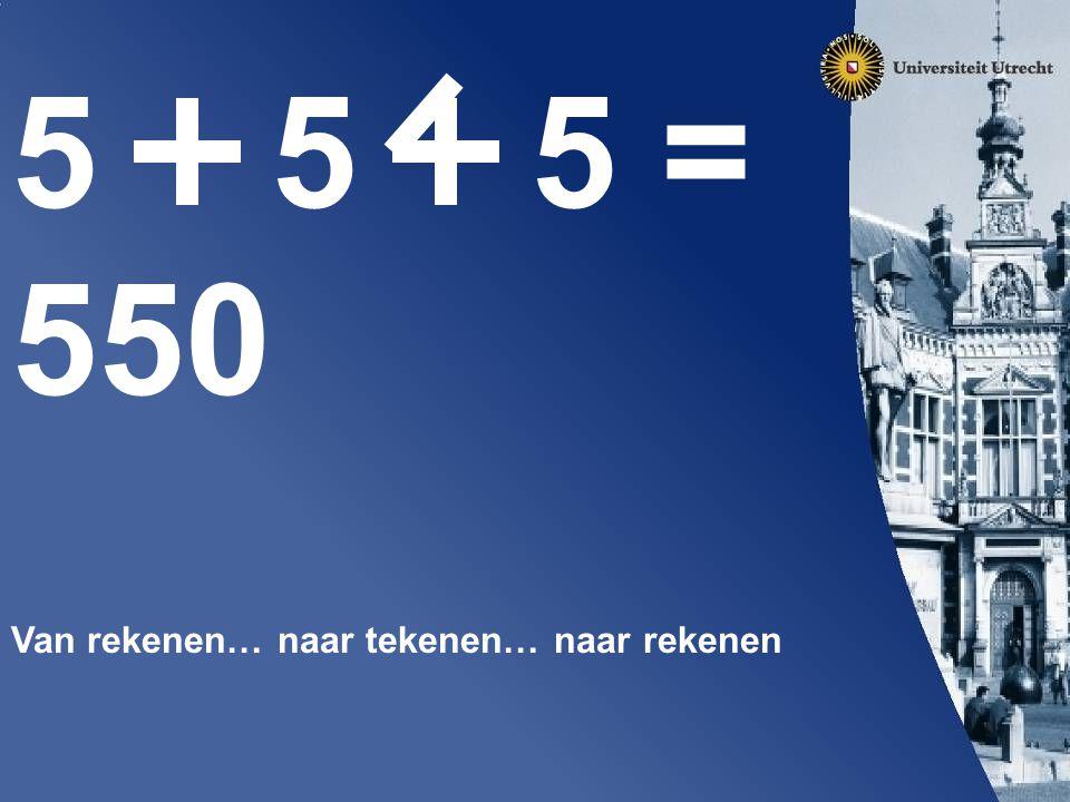 5 5 5 = 550 Van rekenen… naar tekenen… naar rekenen