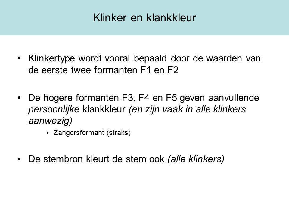 Klinker en klankkleur Klinkertype wordt vooral bepaald door de waarden van de eerste twee formanten F1 en F2 De hogere formanten F3, F4 en F5 geven aanvullende persoonlijke klankkleur (en zijn vaak in alle klinkers aanwezig) Zangersformant (straks) De stembron kleurt de stem ook (alle klinkers)