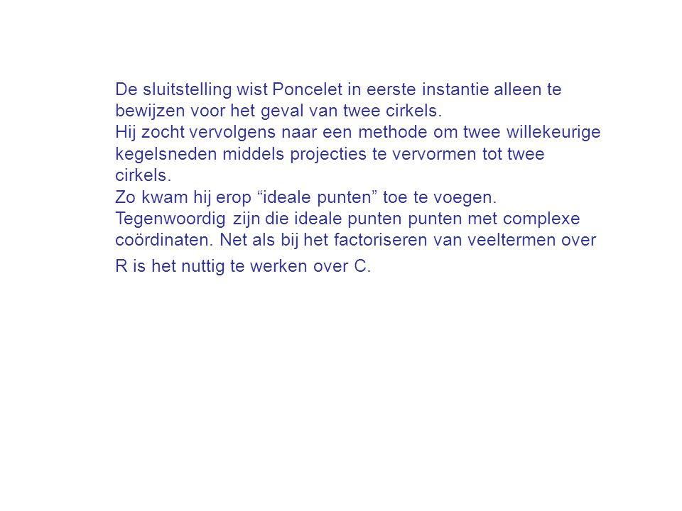 De sluitstelling wist Poncelet in eerste instantie alleen te bewijzen voor het geval van twee cirkels. Hij zocht vervolgens naar een methode om twee w