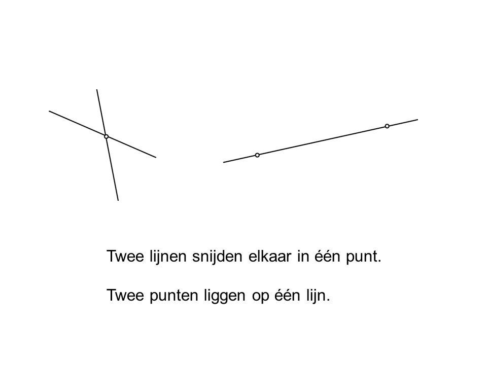 Twee lijnen snijden elkaar in één punt. Twee punten liggen op één lijn.