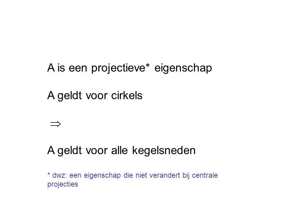 A is een projectieve* eigenschap A geldt voor cirkels  A geldt voor alle kegelsneden * dwz: een eigenschap die niet verandert bij centrale projectie