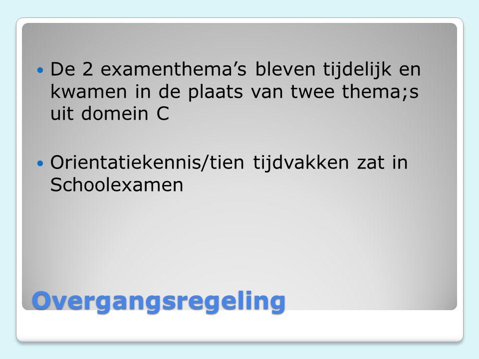 Overgangsregeling De 2 examenthema's bleven tijdelijk en kwamen in de plaats van twee thema;s uit domein C Orientatiekennis/tien tijdvakken zat in Sch