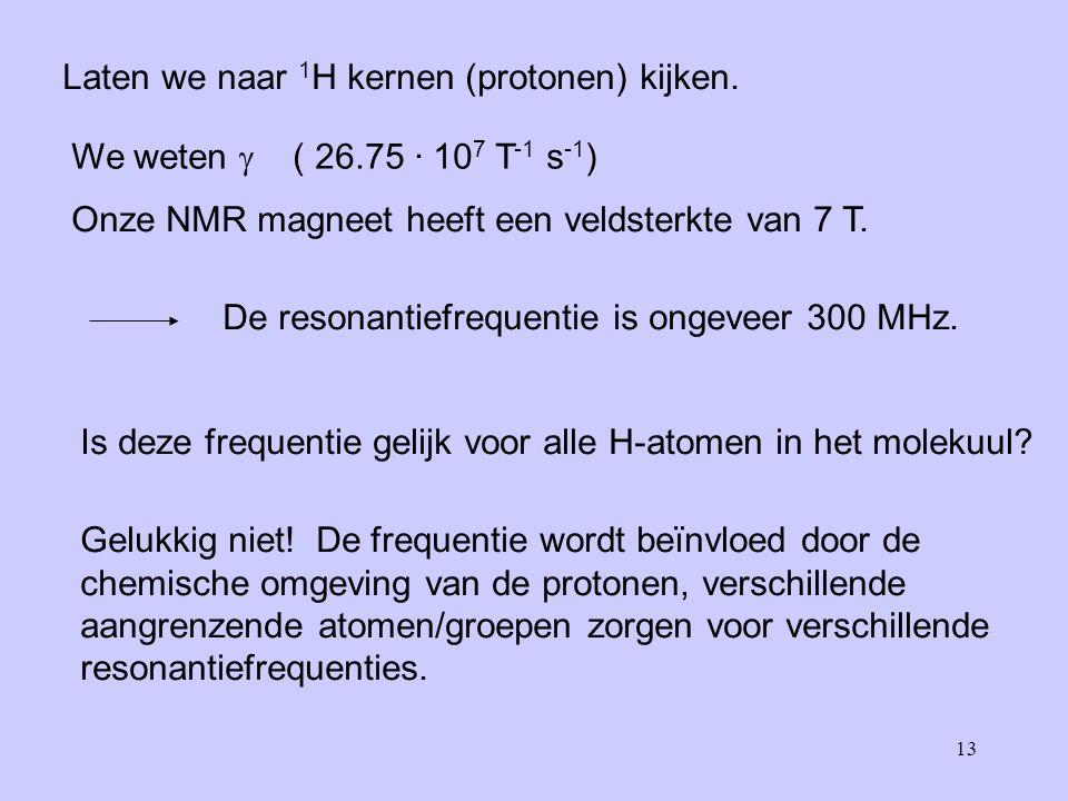13 Laten we naar 1 H kernen (protonen) kijken.