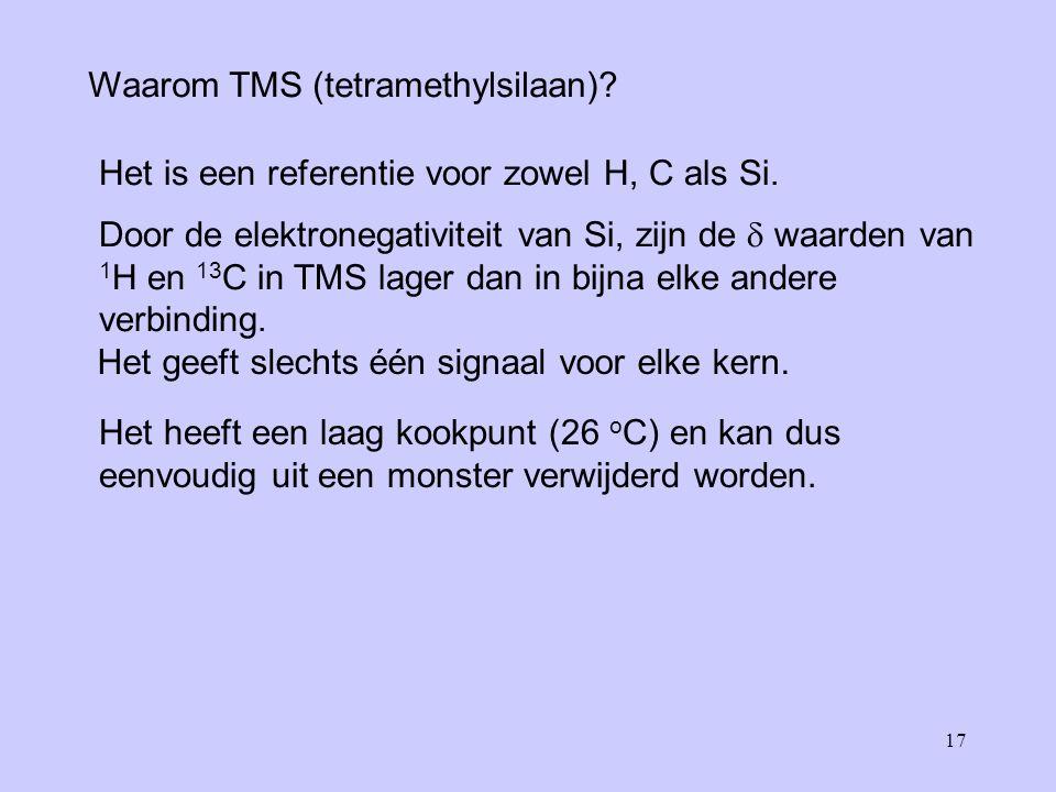 17 Waarom TMS (tetramethylsilaan).Het is een referentie voor zowel H, C als Si.