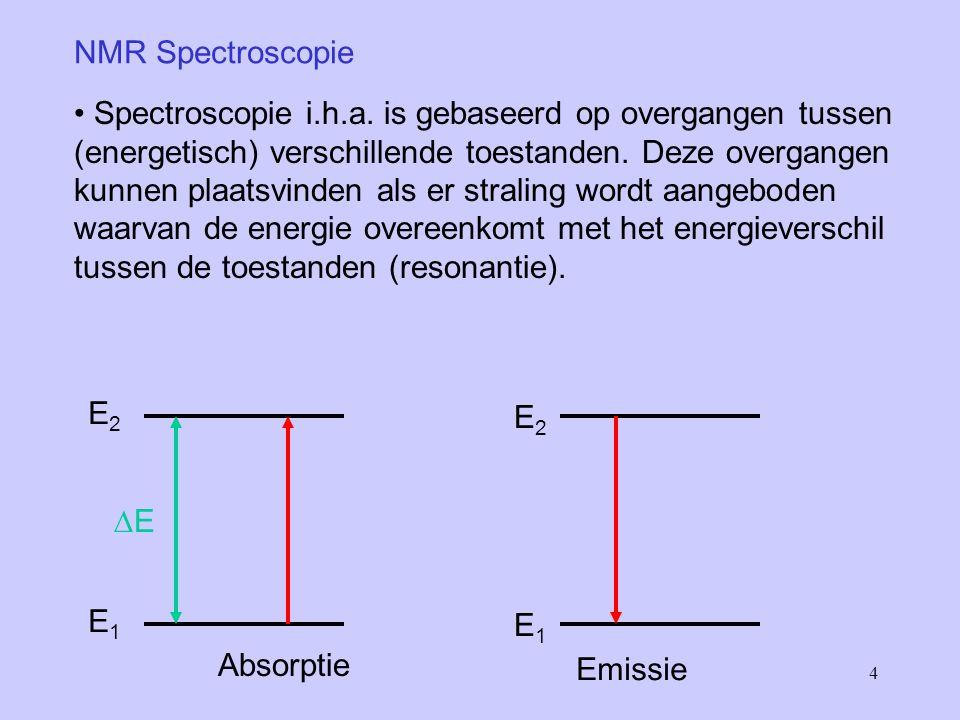4 NMR Spectroscopie E1E1 E2E2 EE Absorptie E1E1 E2E2 Emissie Spectroscopie i.h.a.