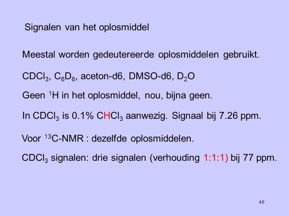 46 Signalen van het oplosmiddel Meestal worden gedeutereerde oplosmiddelen gebruikt.