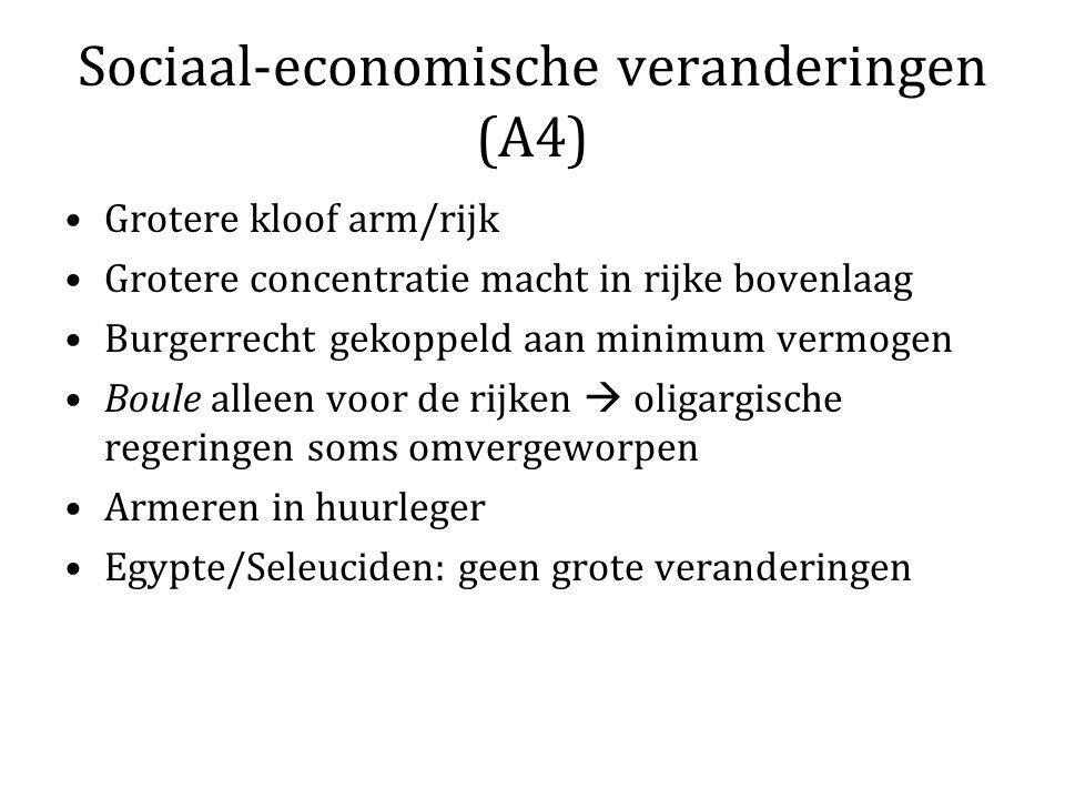 Sociaal-economische veranderingen (A4) Grotere kloof arm/rijk Grotere concentratie macht in rijke bovenlaag Burgerrecht gekoppeld aan minimum vermogen