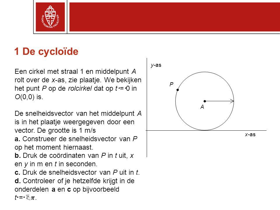 1 De cycloïde Een cirkel met straal 1 en middelpunt A rolt over de x-as, zie plaatje. We bekijken het punt P op de rolcirkel dat op t  =  0 in O(0,0