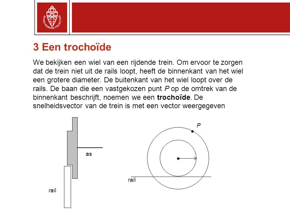 3 Een trochoïde We bekijken een wiel van een rijdende trein. Om ervoor te zorgen dat de trein niet uit de rails loopt, heeft de binnenkant van het wie