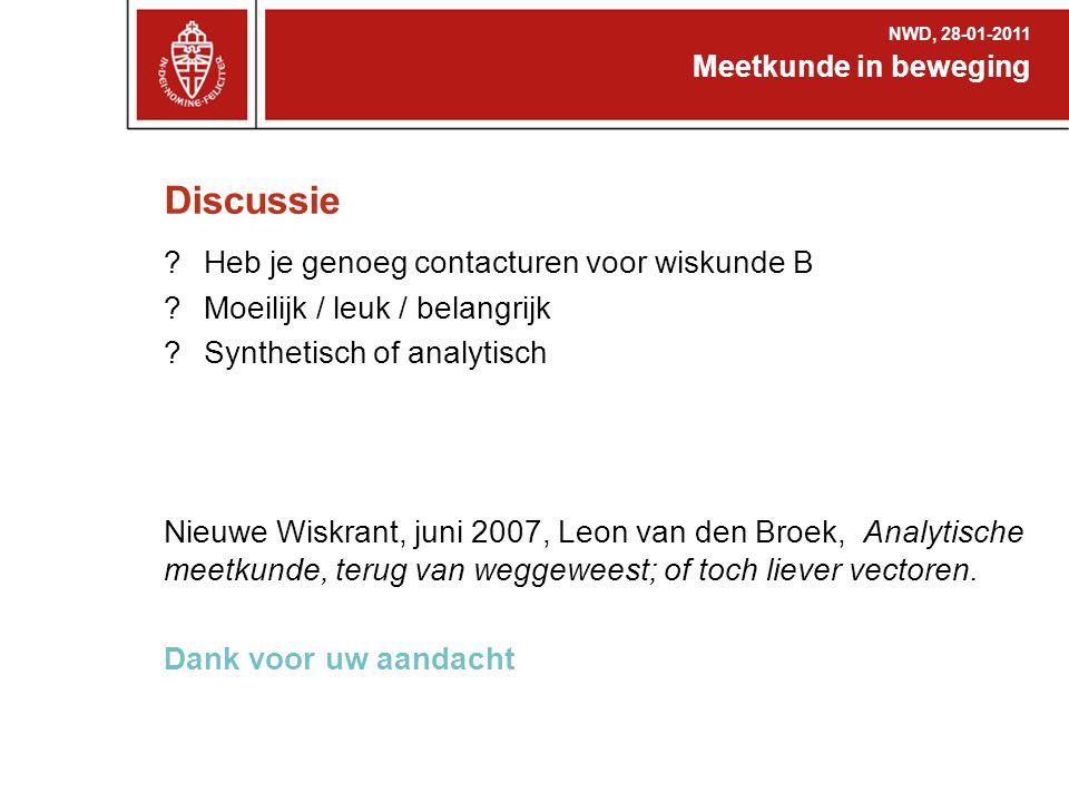 Discussie ?Heb je genoeg contacturen voor wiskunde B ?Moeilijk / leuk / belangrijk ?Synthetisch of analytisch Nieuwe Wiskrant, juni 2007, Leon van den