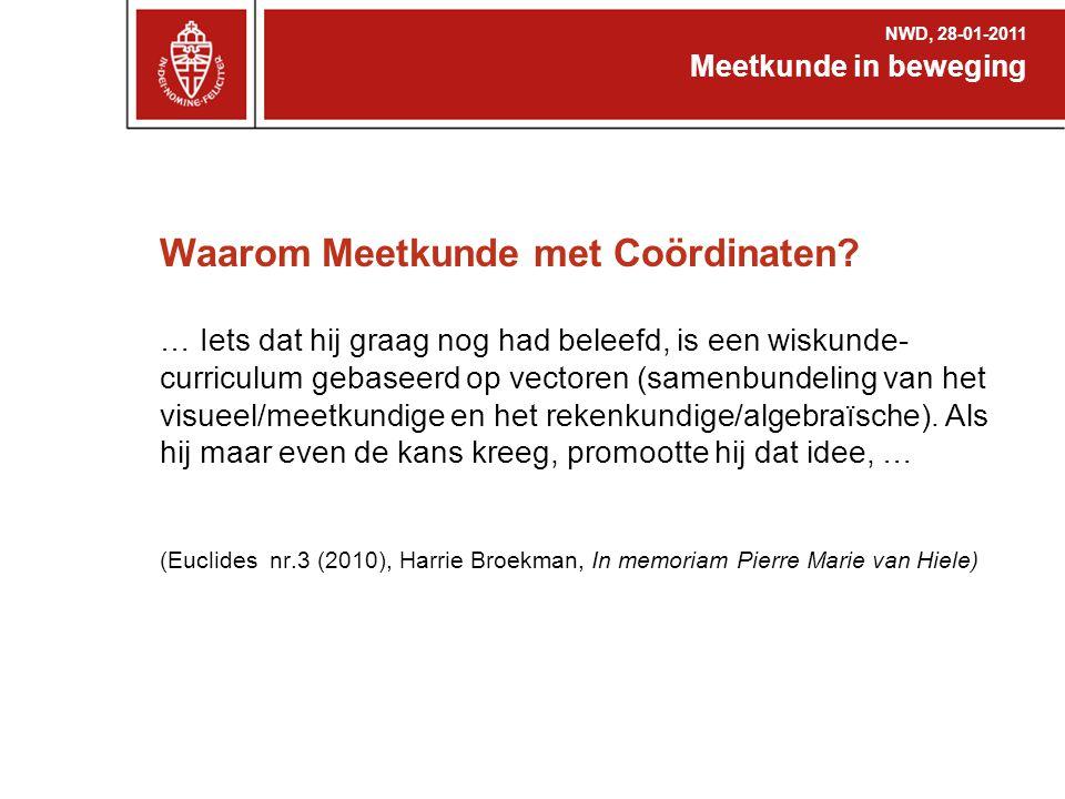Discussie ?Heb je genoeg contacturen voor wiskunde B ?Moeilijk / leuk / belangrijk ?Synthetisch of analytisch Nieuwe Wiskrant, juni 2007, Leon van den Broek, Analytische meetkunde, terug van weggeweest; of toch liever vectoren.
