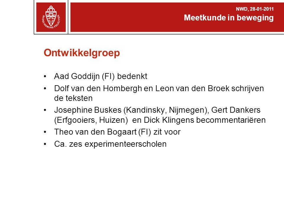 Ontwikkelgroep Aad Goddijn (FI) bedenkt Dolf van den Hombergh en Leon van den Broek schrijven de teksten Josephine Buskes (Kandinsky, Nijmegen), Gert