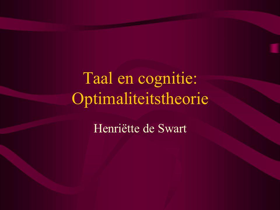Basisprincipes OT beschouwt grammatica als relatie tussen input en output (  neuraal netwerk).