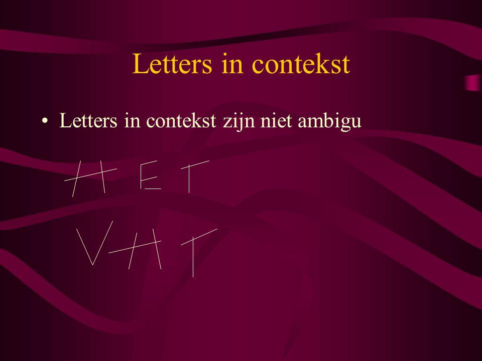 Letters in contekst Letters in contekst zijn niet ambigu