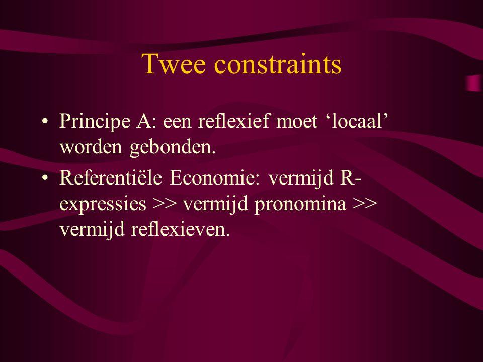 Twee constraints Principe A: een reflexief moet 'locaal' worden gebonden. Referentiële Economie: vermijd R- expressies >> vermijd pronomina >> vermijd