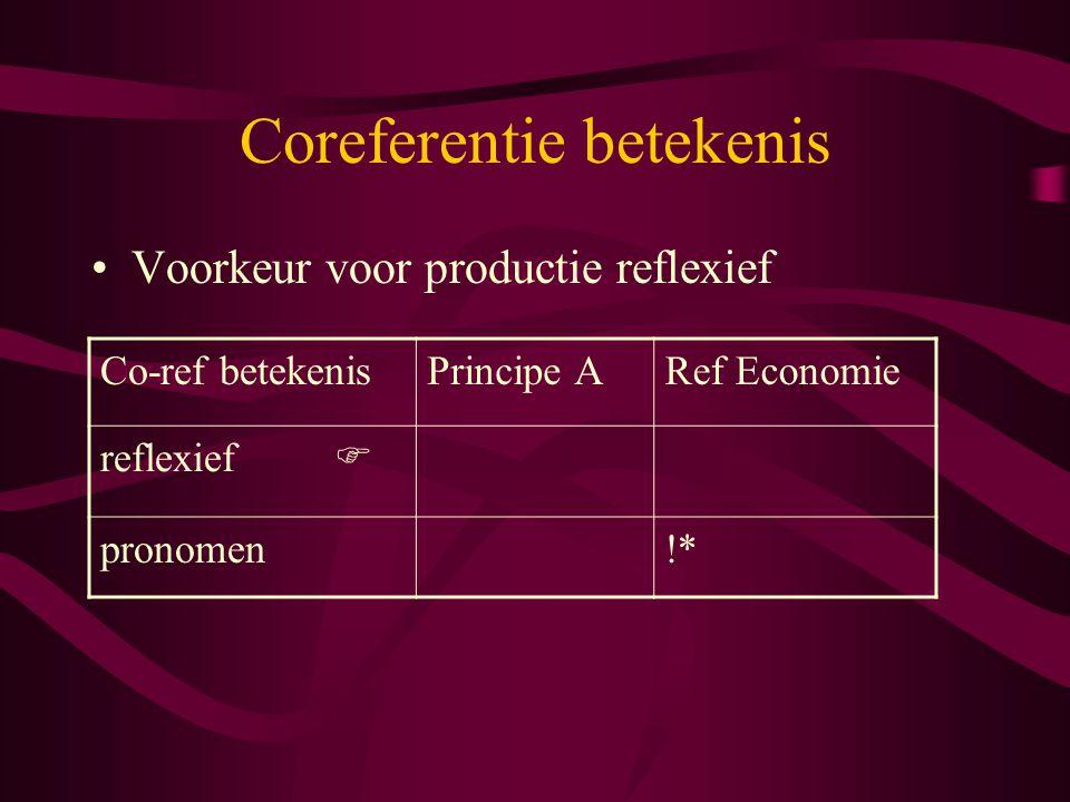 Coreferentie betekenis Voorkeur voor productie reflexief Co-ref betekenisPrincipe ARef Economie reflexief  pronomen!*