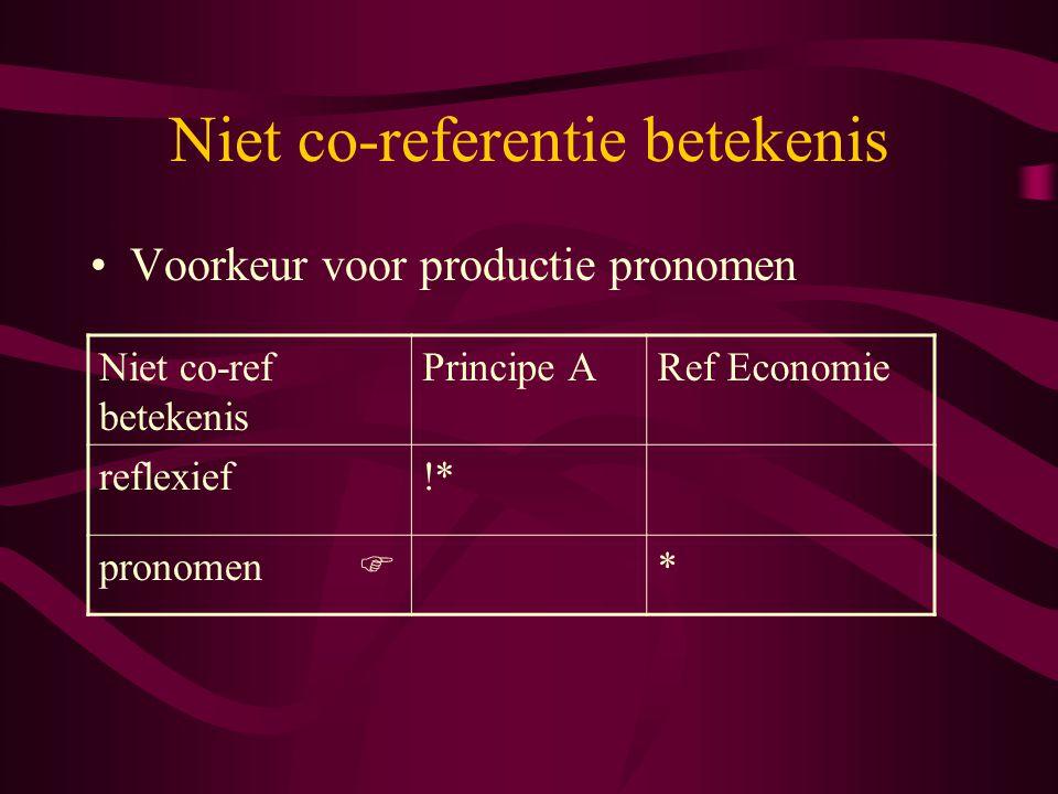 Niet co-referentie betekenis Voorkeur voor productie pronomen Niet co-ref betekenis Principe ARef Economie reflexief!* pronomen  *