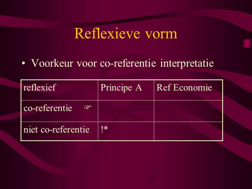 Reflexieve vorm Voorkeur voor co-referentie interpretatie reflexiefPrincipe ARef Economie co-referentie  niet co-referentie!*