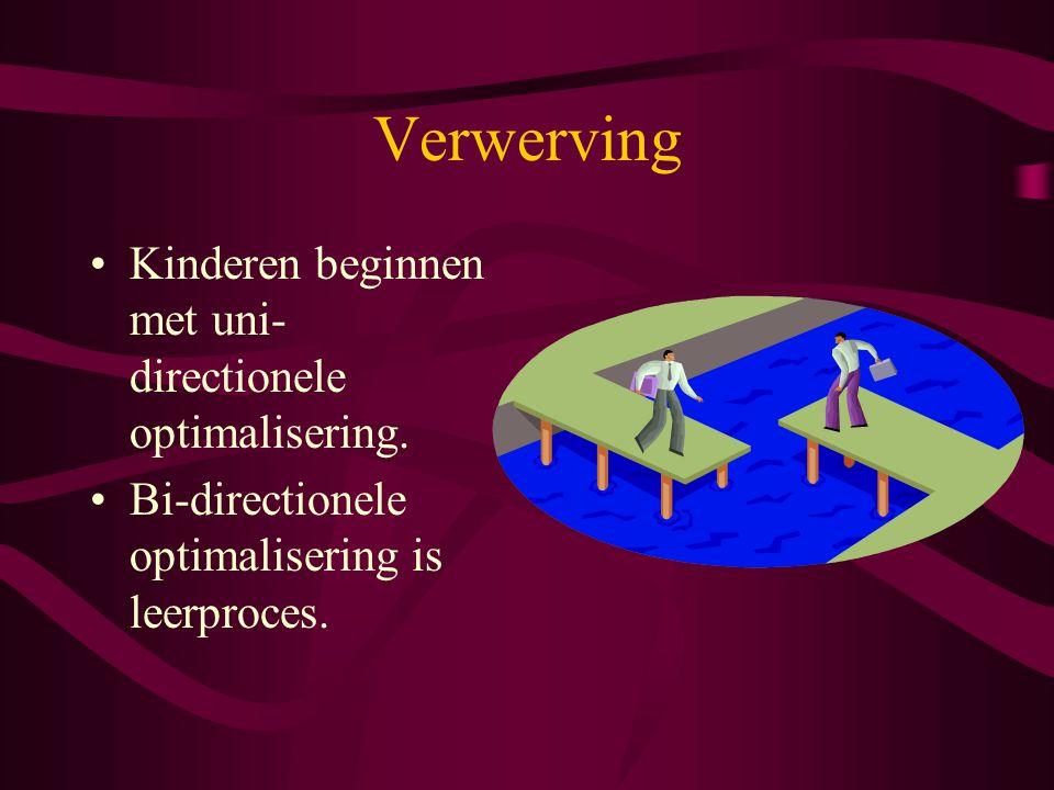 Verwerving Kinderen beginnen met uni- directionele optimalisering. Bi-directionele optimalisering is leerproces.