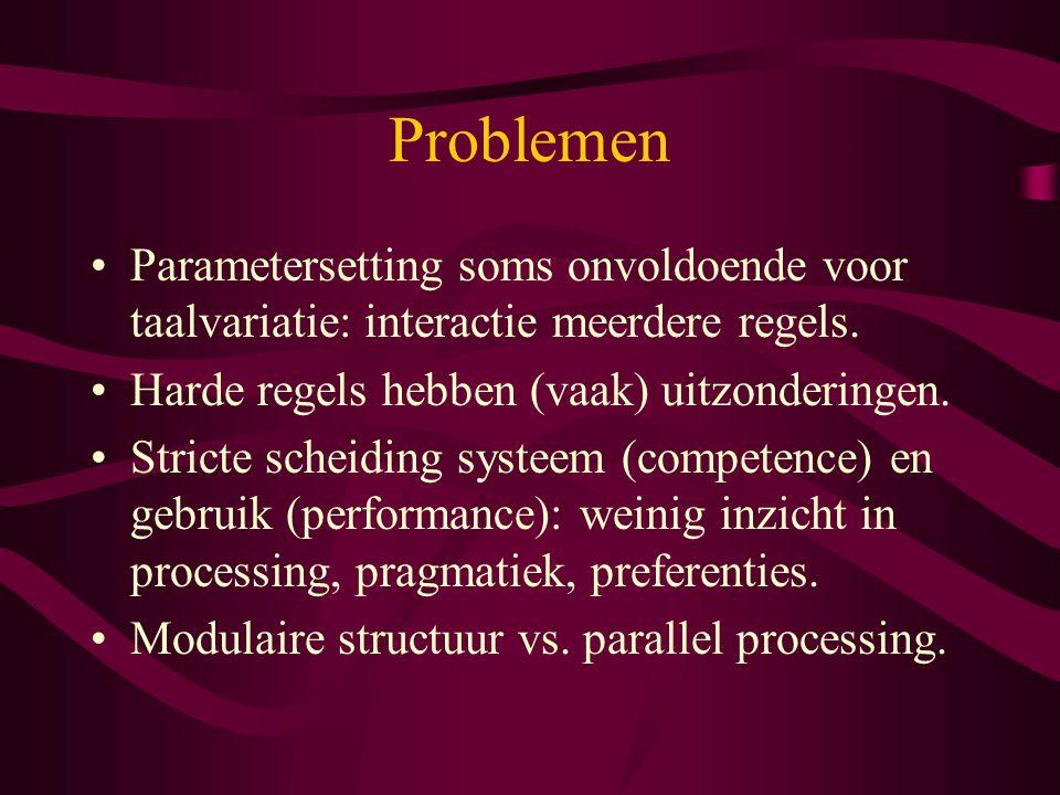 Een alternatief Optimaliteitstheorie: optimale oplossingen van strijdige regels in natuurlijke taal Uitspraak van woorden (fonologie) Zinsbouw (syntaxis) Optimale interpretatie in contekst (semantiek)