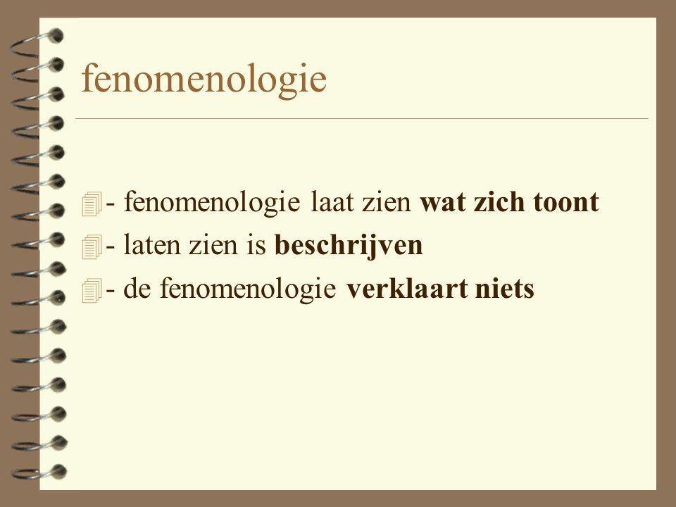 Husserl (1859 - 1938) 4 Fenomenologie van Husserl 4 'zurück zu den Sachen' 4 Denk niet, maar kijk! 4 Zien en laten zien wat zich toont