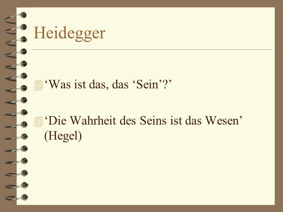 Heidegger 4 'Seins-Erinnerung': 4 niet: herinnering van wat 'het zijn' was 4 maar: herinnering van een spoorloos verdwenen vraag (naar het zijn)
