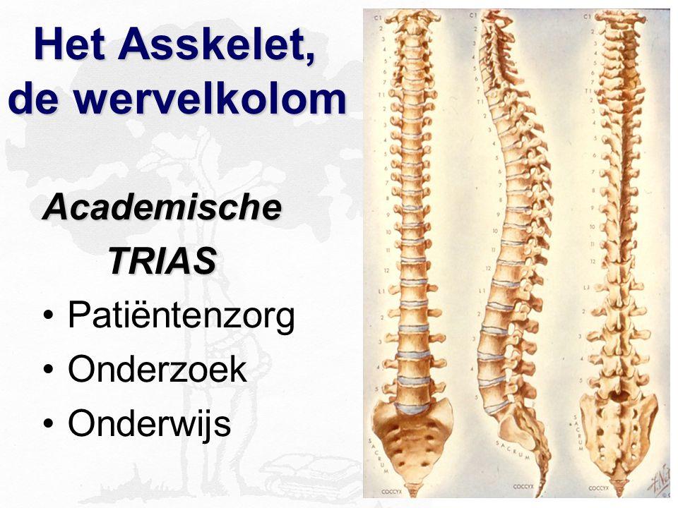 Het Asskelet, de wervelkolom Het Asskelet, de wervelkolom Academische TRIAS TRIAS Patiëntenzorg Onderzoek Onderwijs