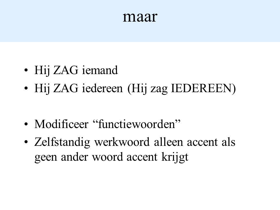 maar Hij ZAG iemand Hij ZAG iedereen (Hij zag IEDEREEN) Modificeer functiewoorden Zelfstandig werkwoord alleen accent als geen ander woord accent krijgt