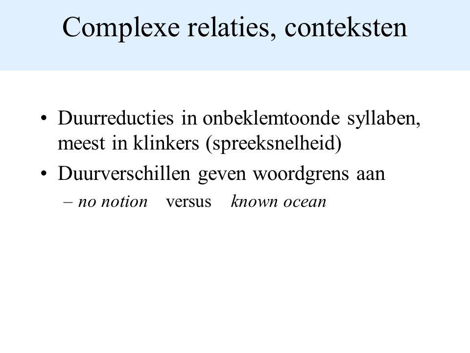 Complexe relaties, conteksten Duurreducties in onbeklemtoonde syllaben, meest in klinkers (spreeksnelheid) Duurverschillen geven woordgrens aan –no notion versus known ocean