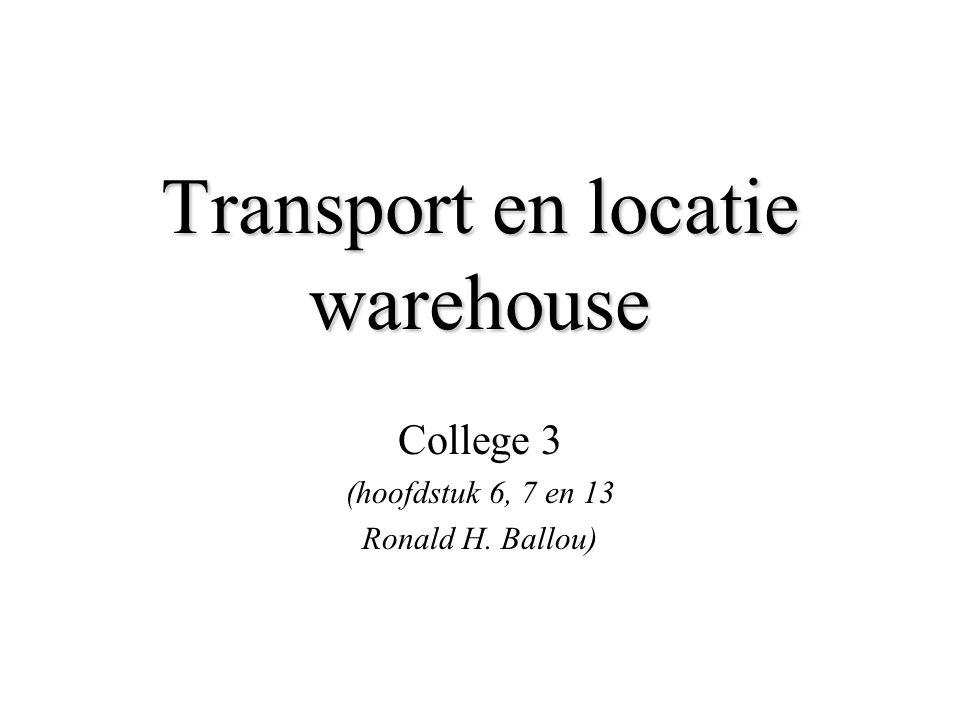 Transport en locatie warehouse College 3 (hoofdstuk 6, 7 en 13 Ronald H. Ballou)