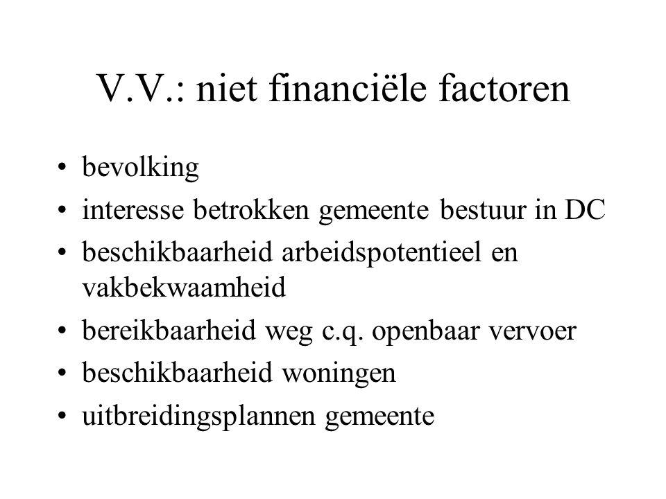 V.V.: financiële factoren Investeringskosten: –grondprijs –bouwkosten Operationele kosten: –personeelskosten –transportkosten –voorraadkosten –energie