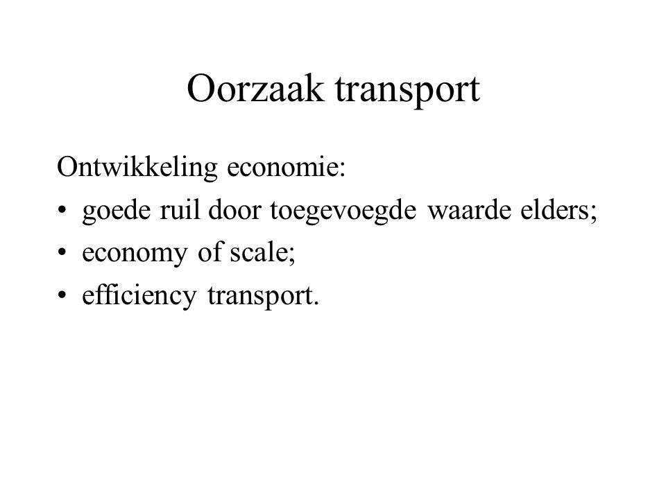 Oorzaak transport Ontwikkeling economie: goede ruil door toegevoegde waarde elders; economy of scale; efficiency transport.