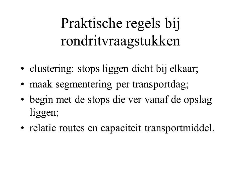 Praktische regels bij rondritvraagstukken clustering: stops liggen dicht bij elkaar; maak segmentering per transportdag; begin met de stops die ver vanaf de opslag liggen; relatie routes en capaciteit transportmiddel.