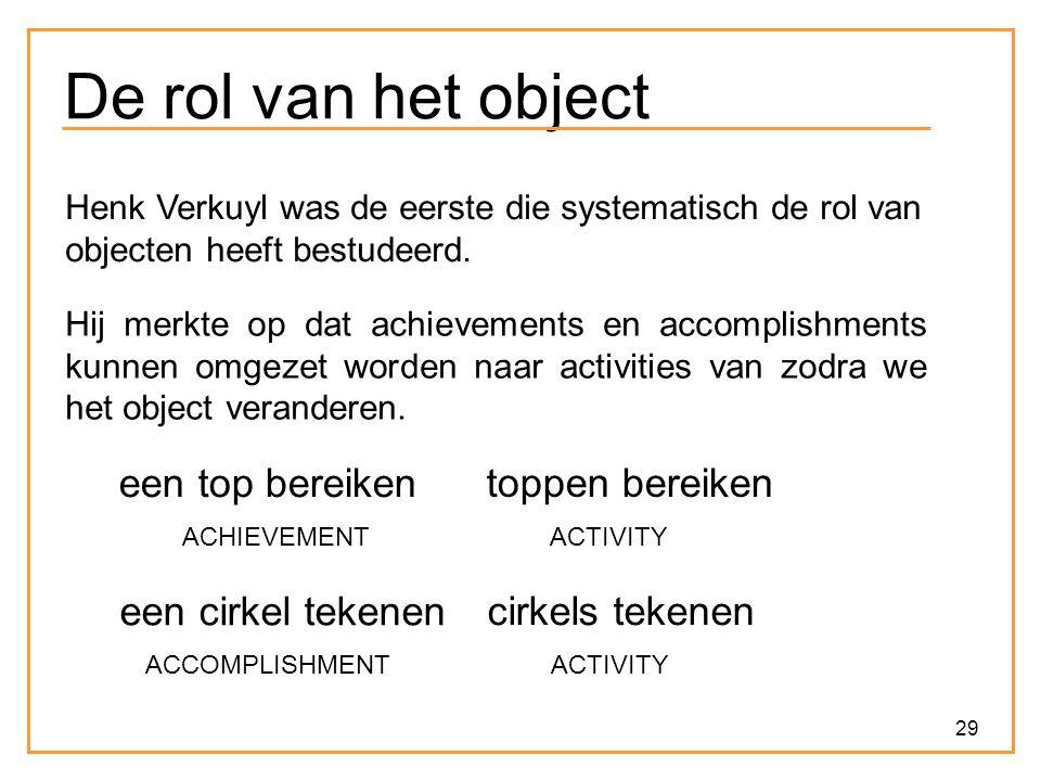 29 De rol van het object Henk Verkuyl was de eerste die systematisch de rol van objecten heeft bestudeerd. Hij merkte op dat achievements en accomplis