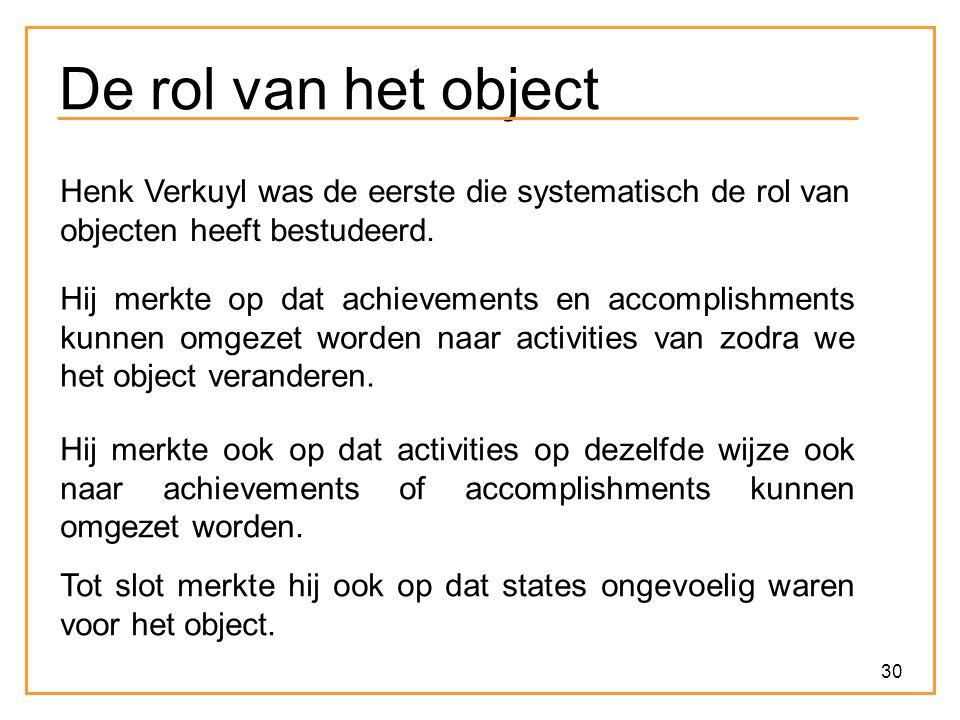 30 De rol van het object Henk Verkuyl was de eerste die systematisch de rol van objecten heeft bestudeerd. Hij merkte op dat achievements en accomplis
